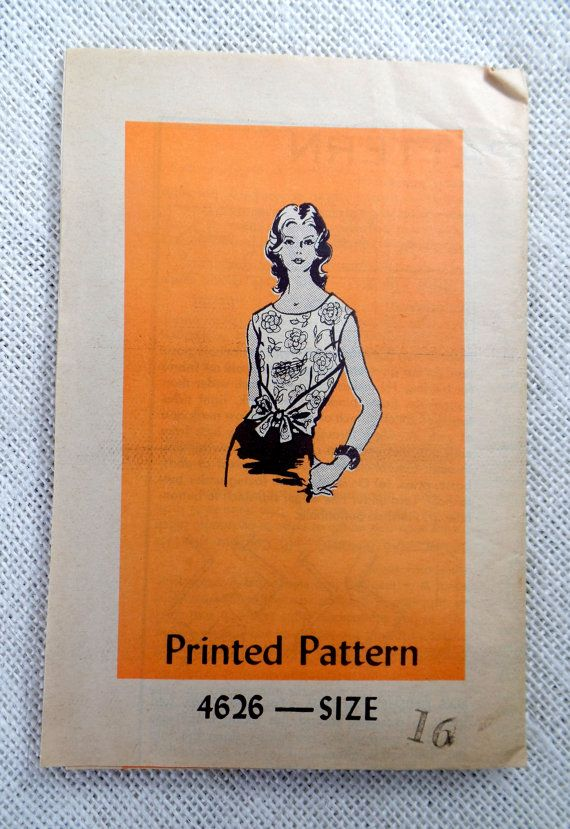 Vintage pattern Anne Adams 4626 1970s wrap blouse Sewing Bust 38 Bow Secretary blouse Belt Scarf Cap sleeves wrap