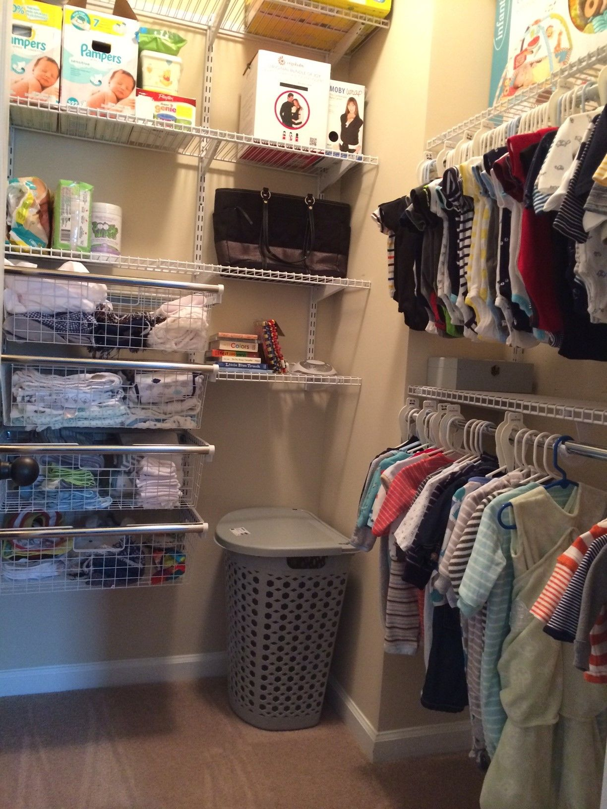 Custom Closet For The Nursery! Rubbermaid Homefree From Lowes. #closet  #organization #nursery #babyboy