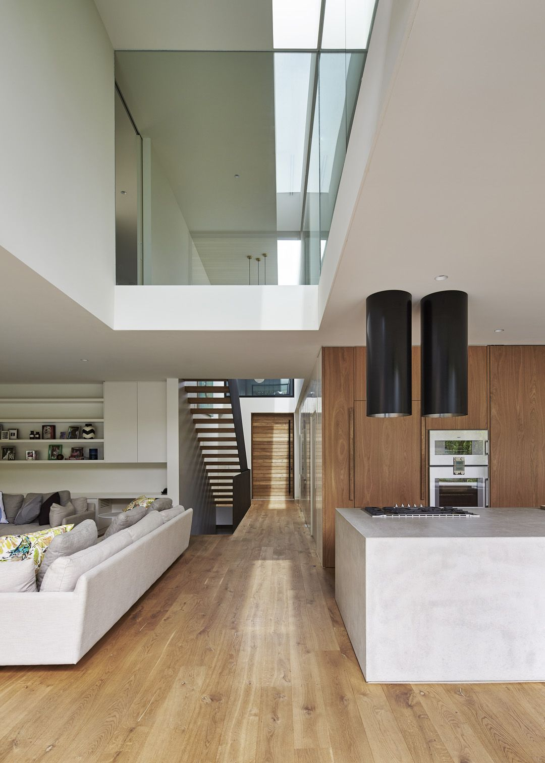 Use Of Timber White And Black And Also Void House Interior