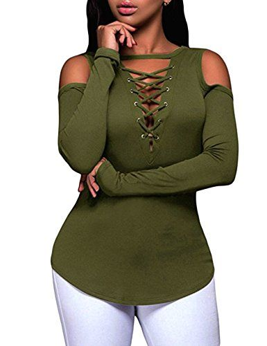 1e3bbeafaa80e OLUOLIN Womens Sexy OffShoulder Tops Stretchy Ribbed Lace Up Shirt Blouses  Green XL   Want to know more