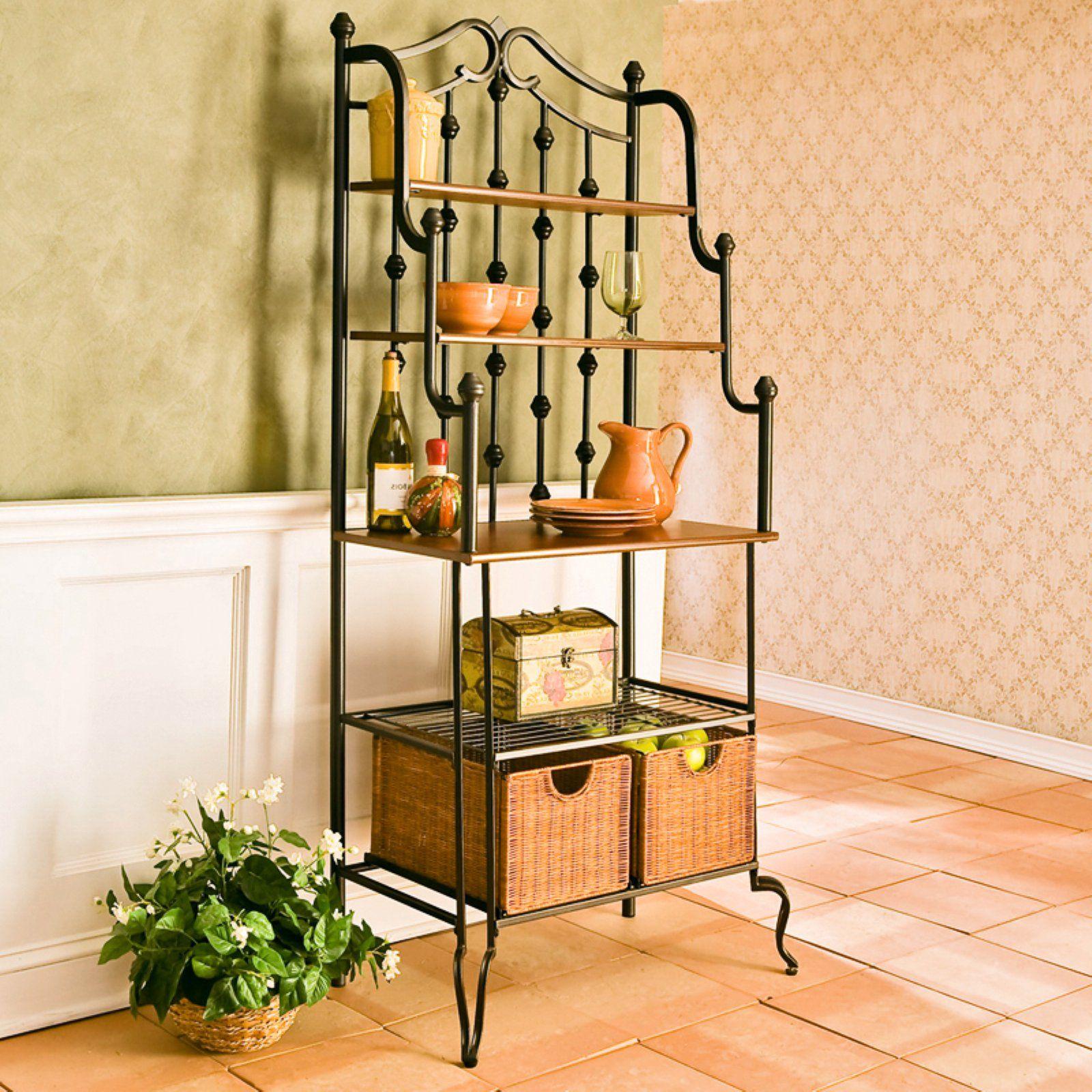Southern Enterprises Prescott Baker S Rack Wooden Shelves