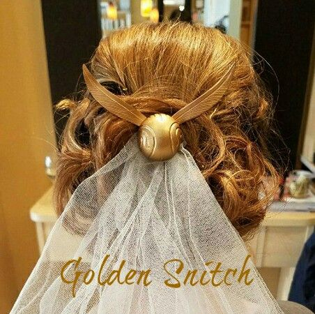 Golden Snitch hair comb with veil created by Christopher Morgan Couture. Available at my Etsy shop ChristopherMCouture or www.christophermorgancouture.com
