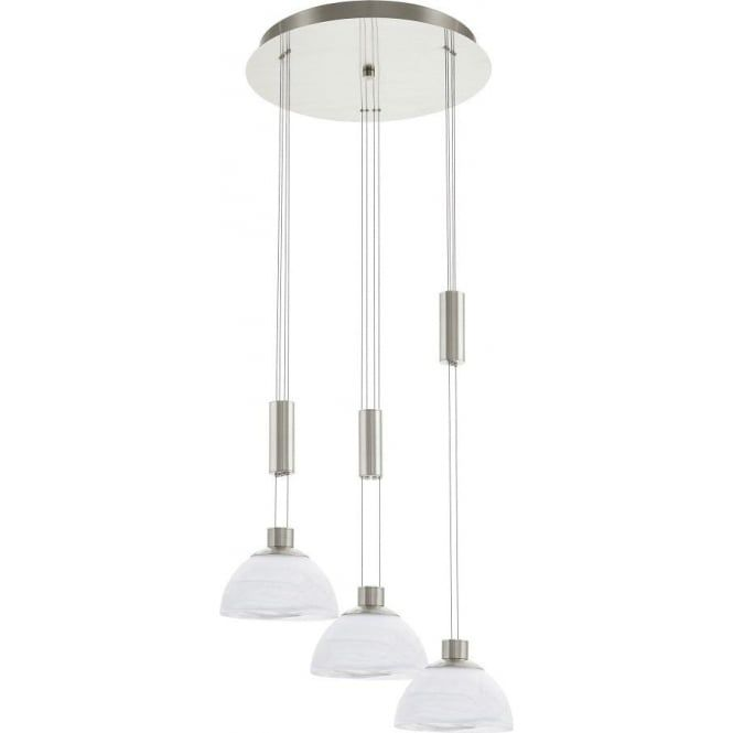 Eglo lighting montefio 3 light led rise and fall ceiling pendant in eglo lighting montefio 3 light led rise and fall ceiling pendant in satin nickel finish aloadofball