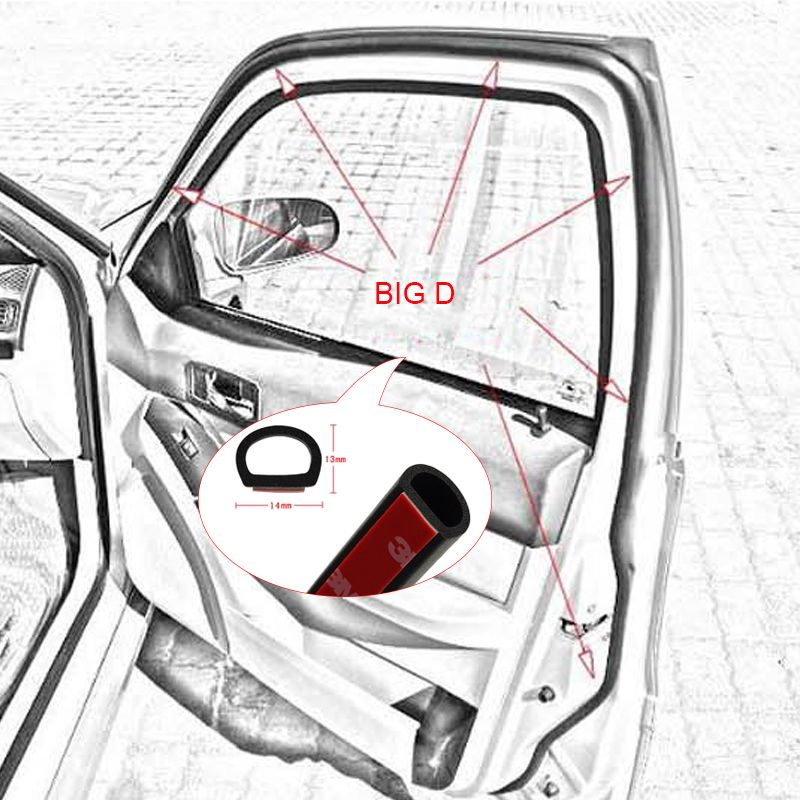 4meters Car Door Seal Auto Strip Big D Type Sealing Strip Waterproof Trim Sound Insulation Weatherstrip Epdm Rubber Seal Sound Insulation Weather Stripping Car