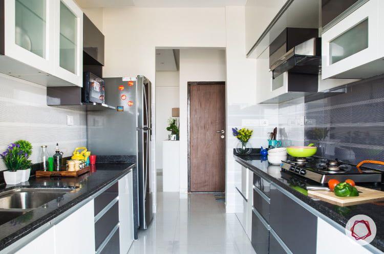 Mumbai Interior Design Ivory And Grey Modular Kitchen
