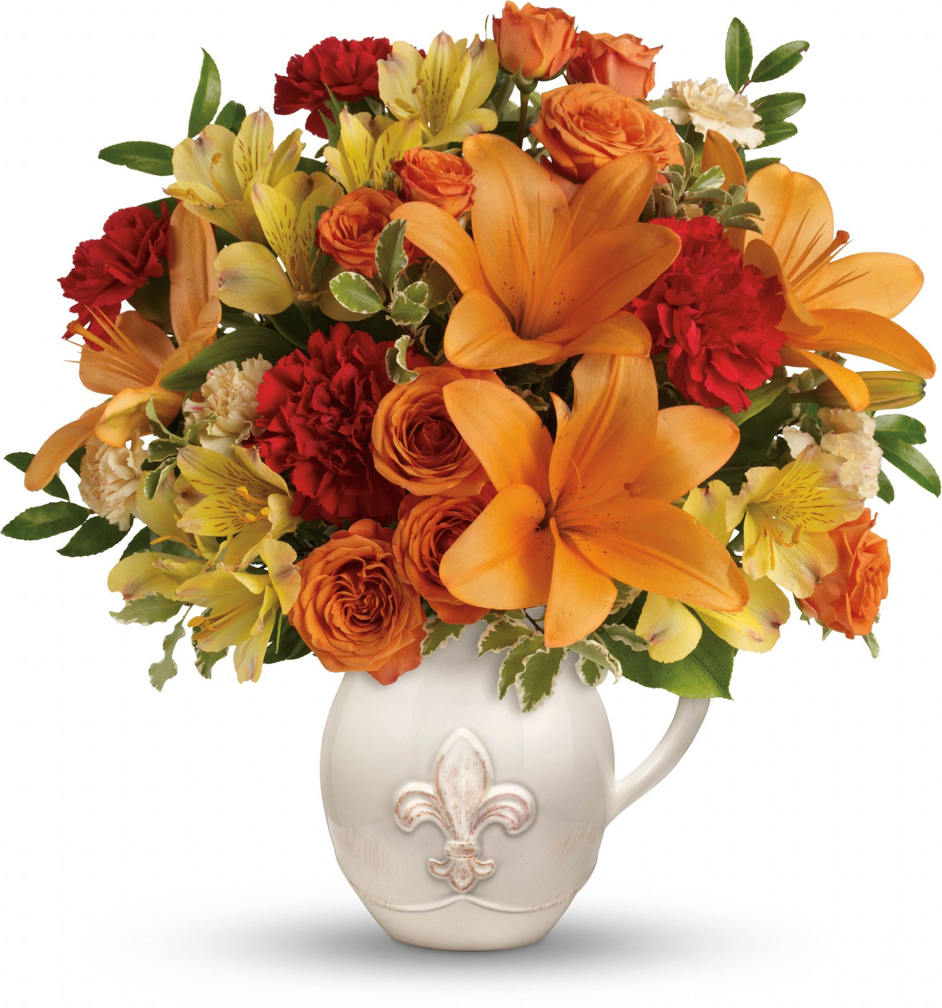 Teleflora's Summer Cottage bouquet in a fleurdelis
