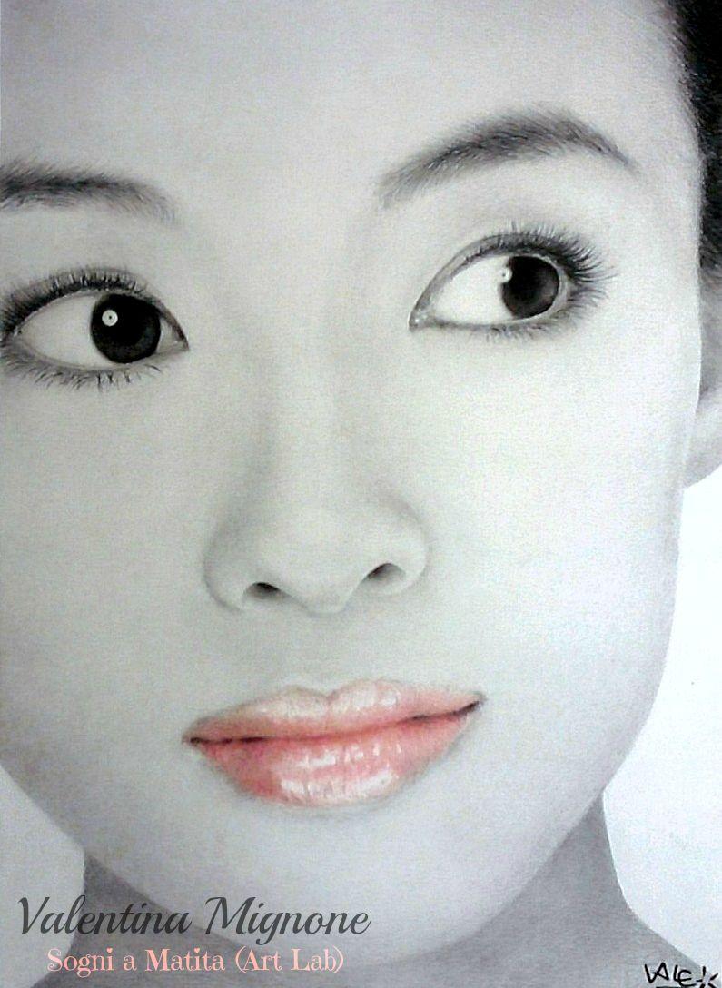-Zhang Ziyi- matite,polvere di grafite e pastelli su carta (by Mignone Valentina) my page: https://www.facebook.com/pages/Sogni-a-Matita-Art-Lab/314339471996126