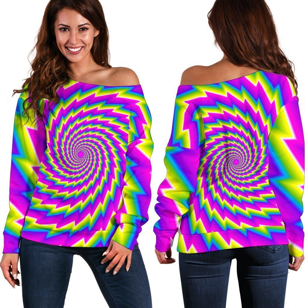 Abstract twisted moving optical illusion off shoulder
