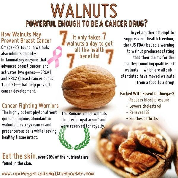 Walnuts: Health benefits - helps to prevent cancer, reduces blood pressure, lowers cholesterol, relieves IBS and soothes arthritis. #health #walnuts