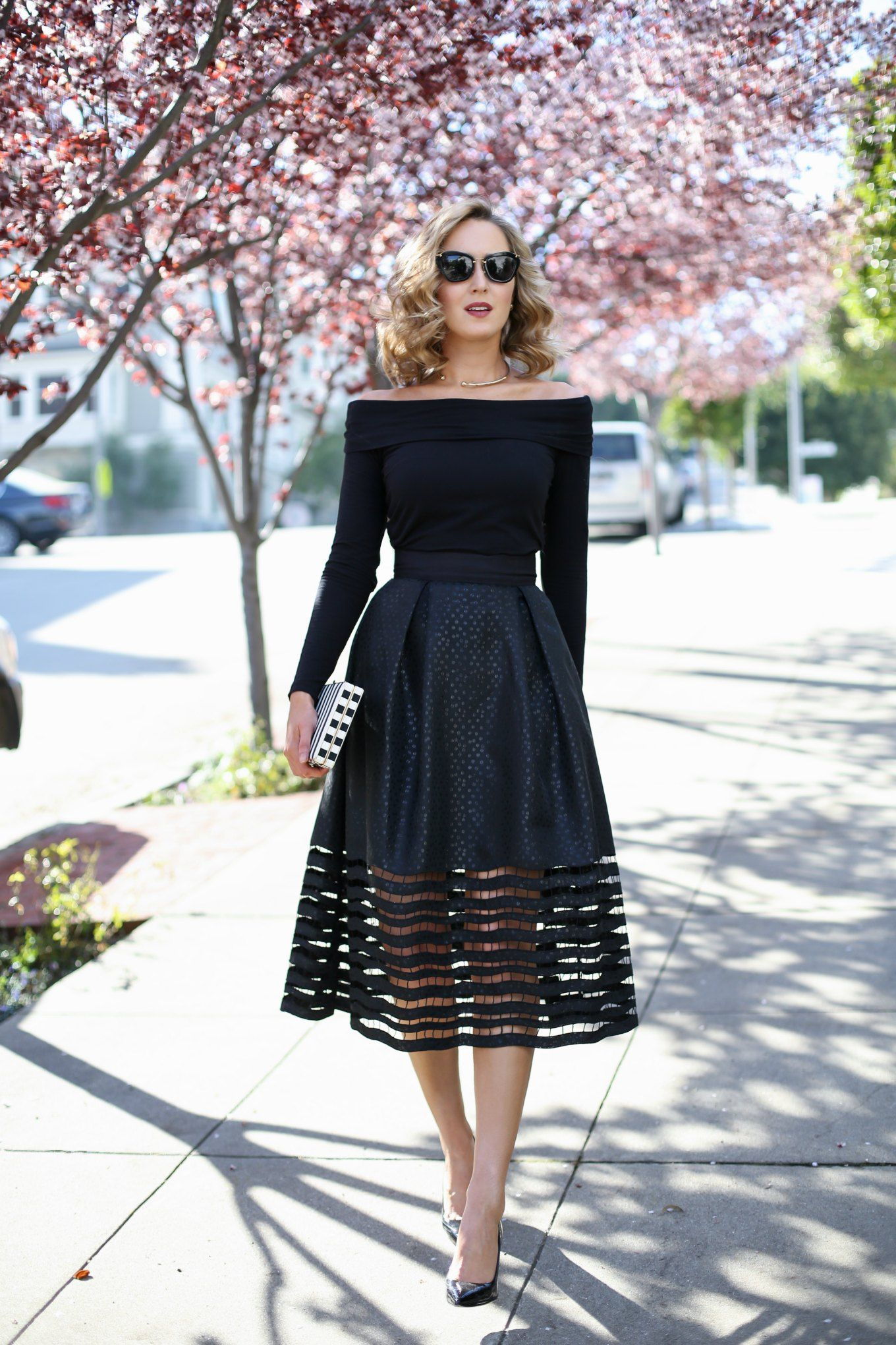 Cut-out Midi Skirt and Off-The-Shoulder Top (MEMORANDUM) | The ...