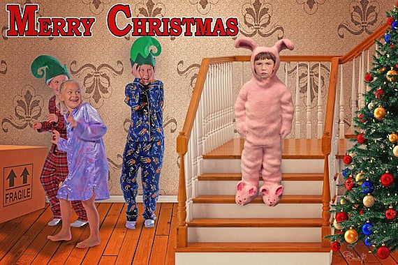Enjoy This Nostalgic A Christmas Story Inspired Ralphie In His Bunny Suit Christmas Digital Backdrop To Add Yo A Christmas Story Bunny Suit Digital Backdrops
