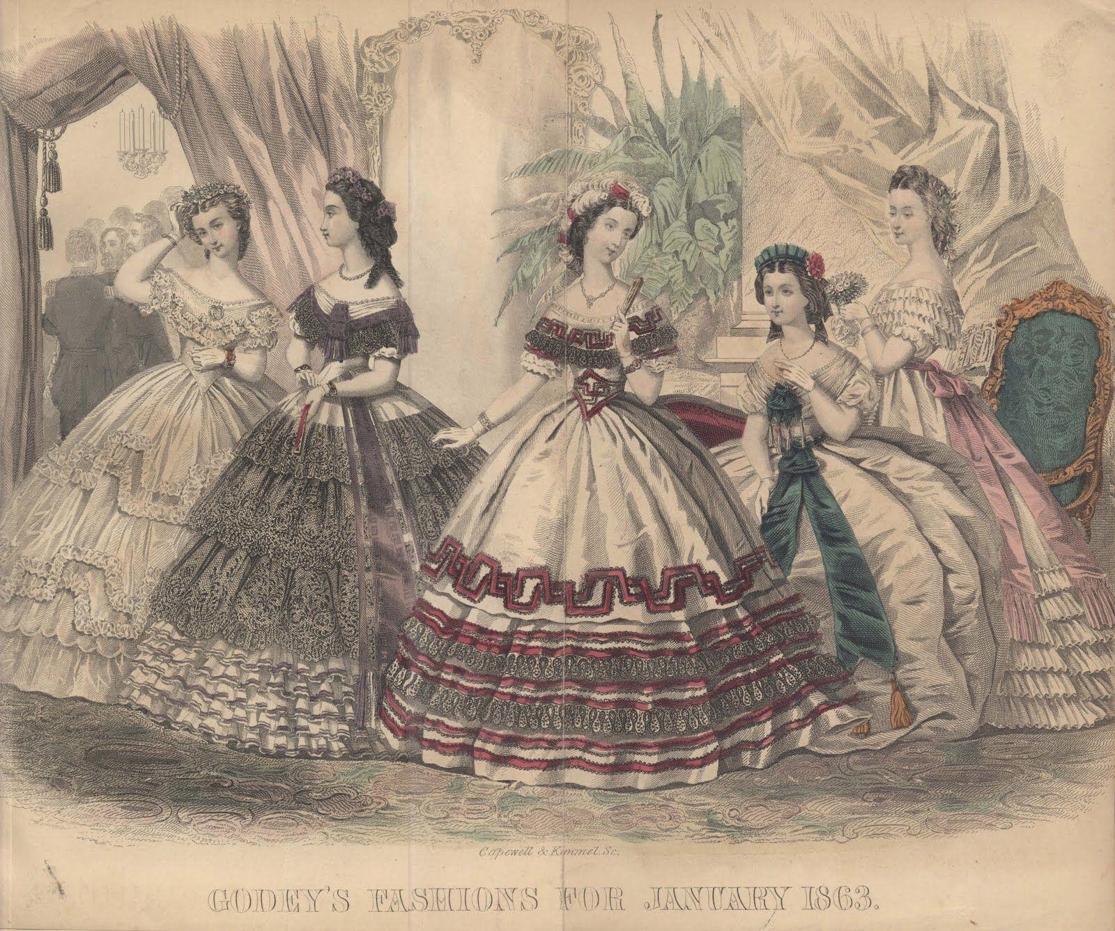 Civil War Era Clothing: Civil War Era Fashion Plate - January 1863 Godey's Lady's Book
