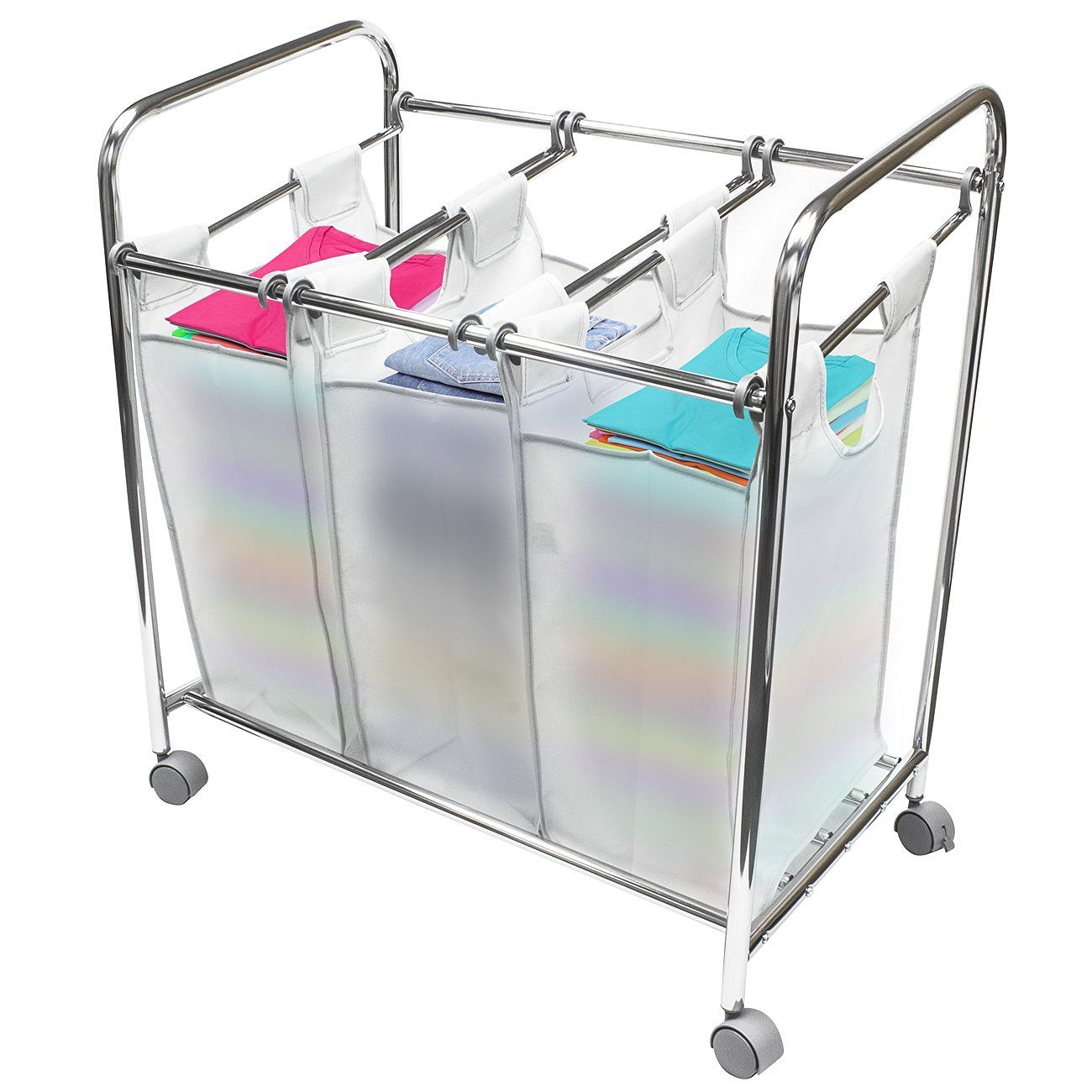 Amazon Com 33 L X 20 W X 33 H Sorbus Laundry Sorter Cart Basket Hamper On Wheels Clothes Organizer With 3 Removable Bags Laundry Sorter Laundry Hamper Organization