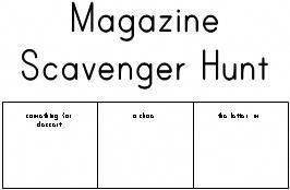 magazine scavenger hunt: could do this with different
