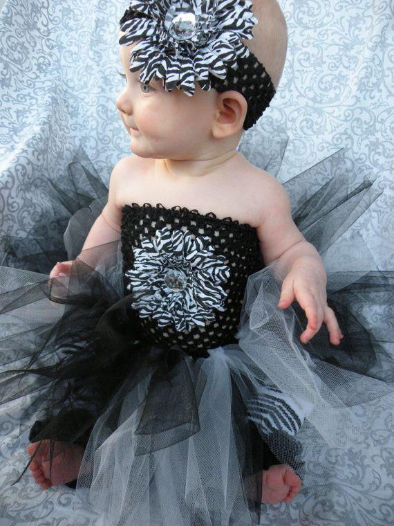18e850edb4 Baby  Infant Toddler Girl Zebra  black and white tutu dress  Crochet black  and white tutu dress and zebra print leg warmers