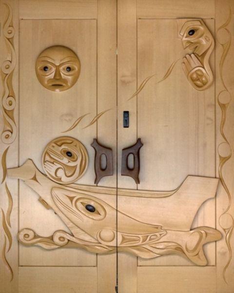 Tseshaht Administration doors yellow cedar and yew wood carved by Gordon Dick & Tseshaht Administration doors yellow cedar and yew wood carved by ...