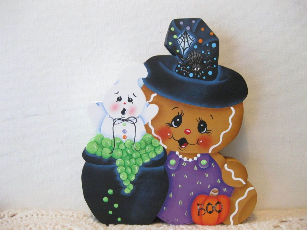HP Gingerbread Halloween witch SHELF SITTER hand painted USA