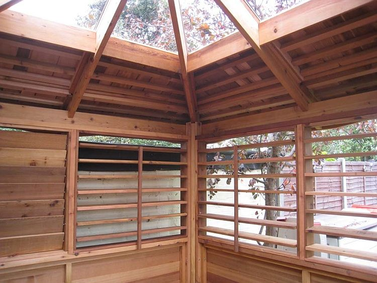 Gazebo Roofs | Large Clear (atrium) Roof On Cedar Hot Tub Gazebo Inside View