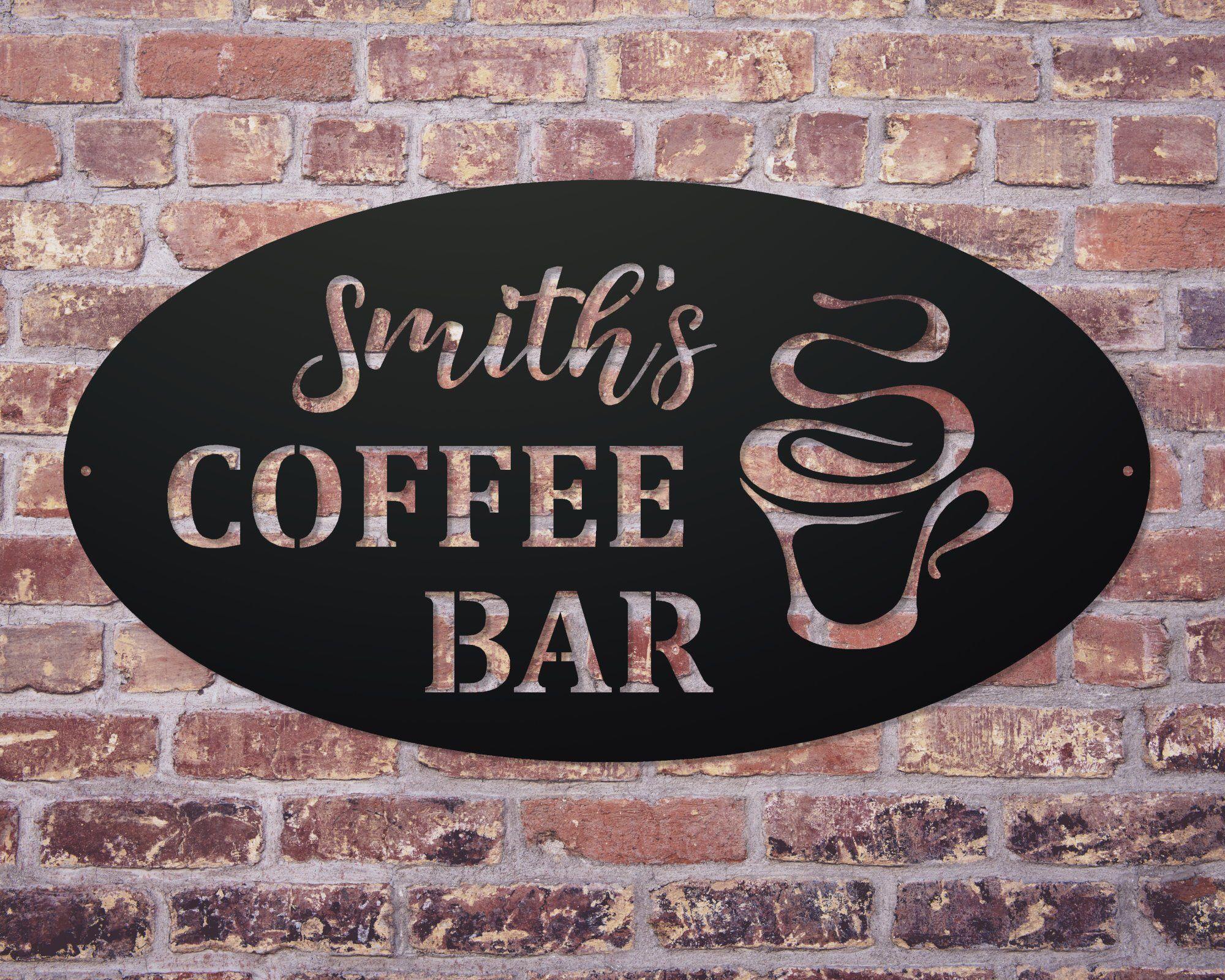 Personalized Coffee Bar Sign Custom Metal