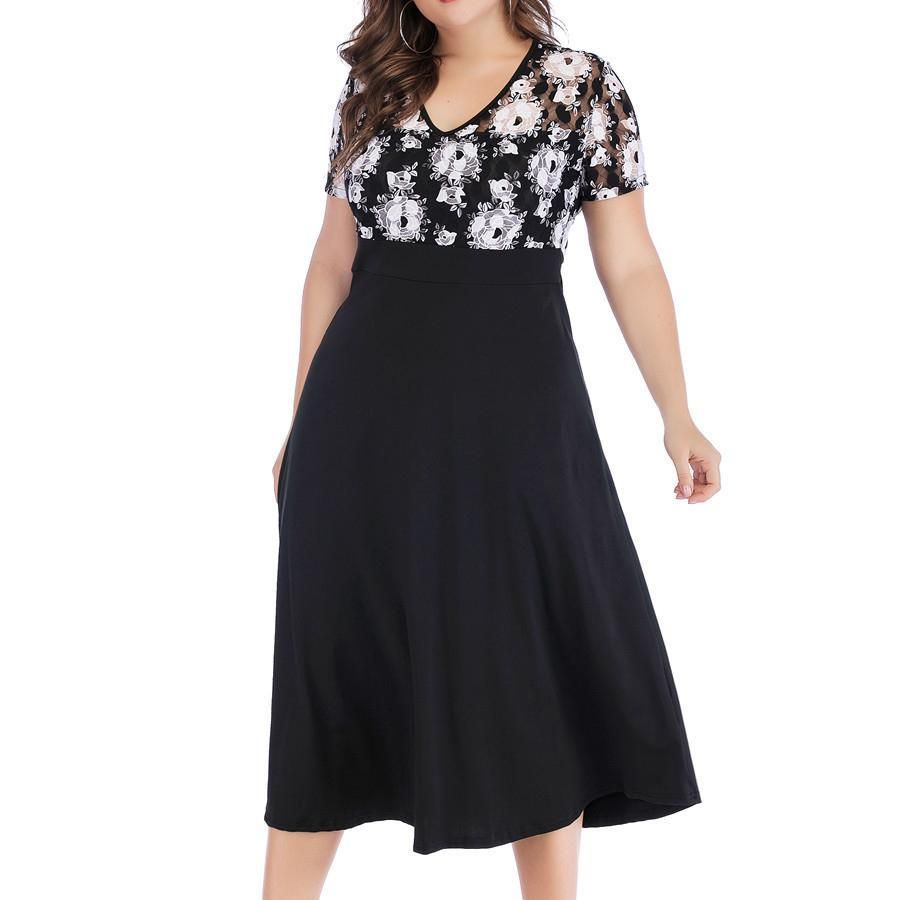 Photo of Woman Size Short Sleeve V Collar Black And White Lace High Waist Dress