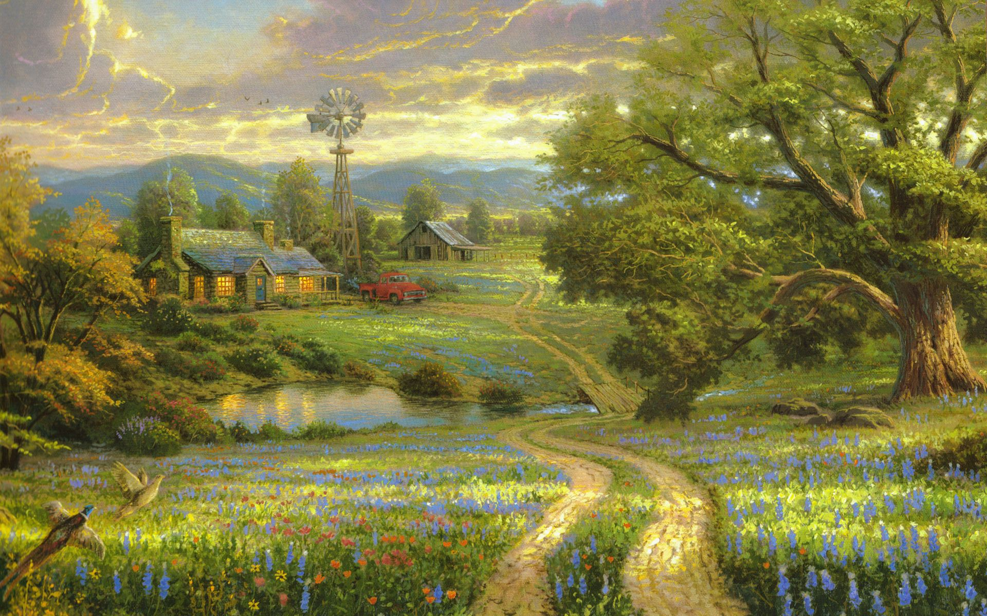 Landscapepaintings thomas kinkade landscape paintings for Oil painting scenery