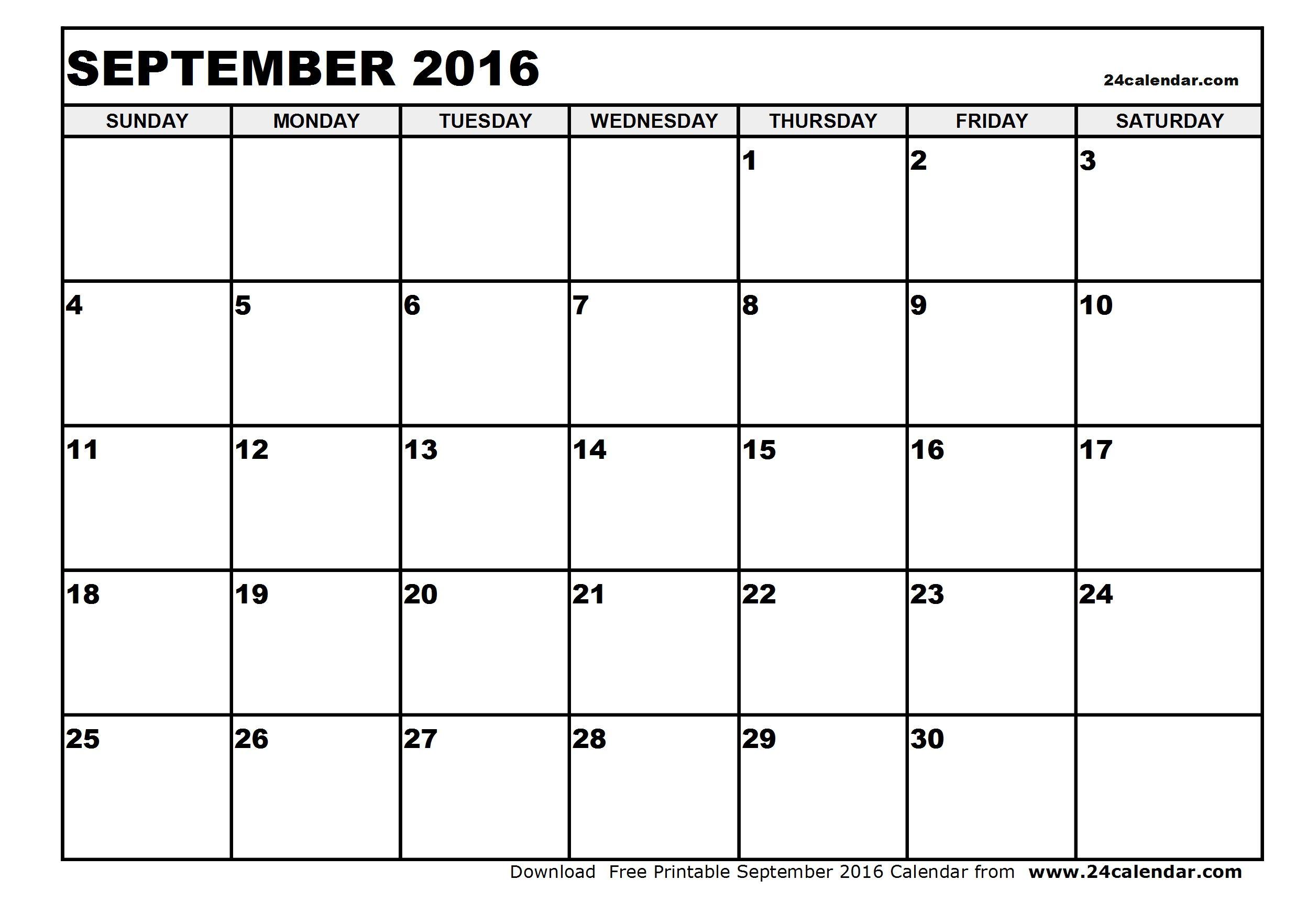 September  Calendar Blank  September  Calendar