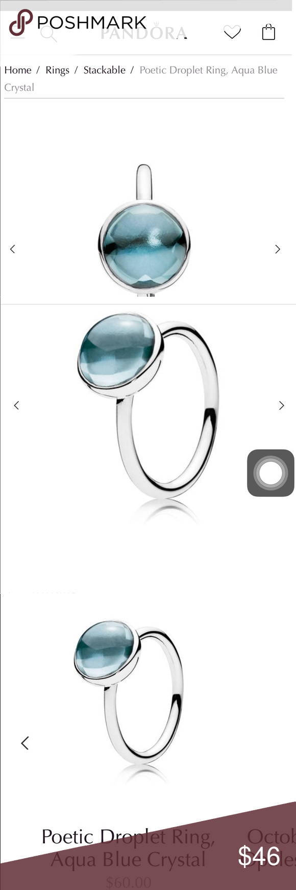 22e75fe21 NWT Pandora Poetic Droplet Ring sz 51/2 beautiful Pandora Poetic Droplet  Ring purchased at Kathies Boutique beautiful Pandora Jewelry Rings