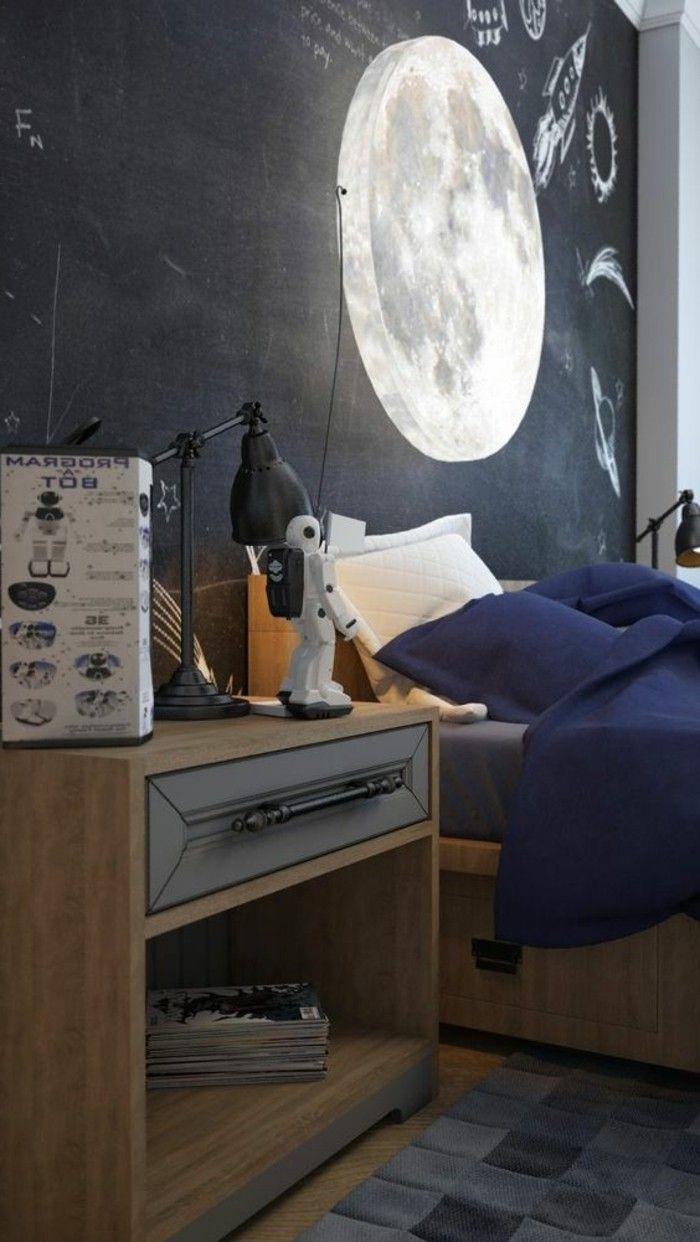 chambre moderne ado garon lampe lune et grand tableau dcriture