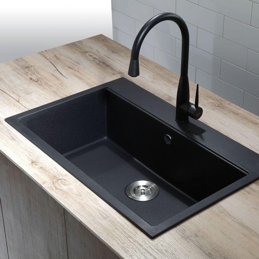 Single Sink Kitchen Moen Faucet Hands Free Kraus All In One Dual Mount Granite 31 Bowl Black Onyx