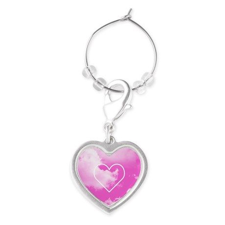 Pink Clouds Heart Wine Charm #stockingstuffer