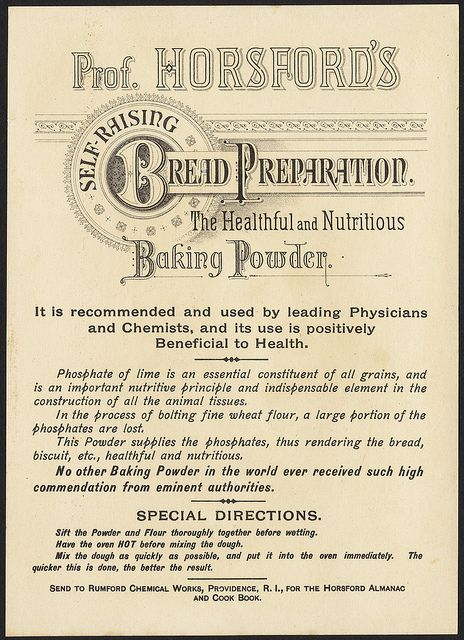 Prof. Hosford's Self Raising Bread Preparation. The healthful and nutritious baking powder. [back] by Boston Public Library.