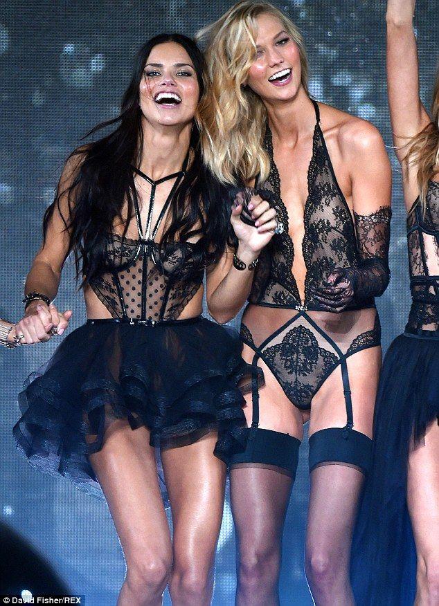 b6b863f760 Sexy senioritas  Adriana and Karlie looked sensational in their skimpy black  lace garments