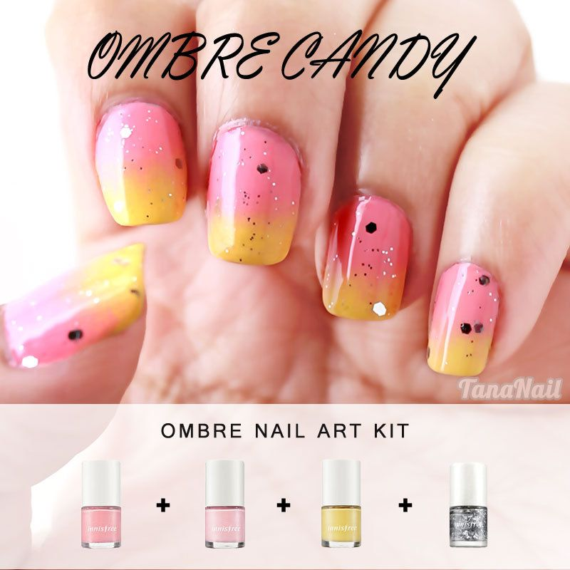 Pink & Yellow Ombre Nail Art Kit, Summer Style, Japanese Nail Art ...