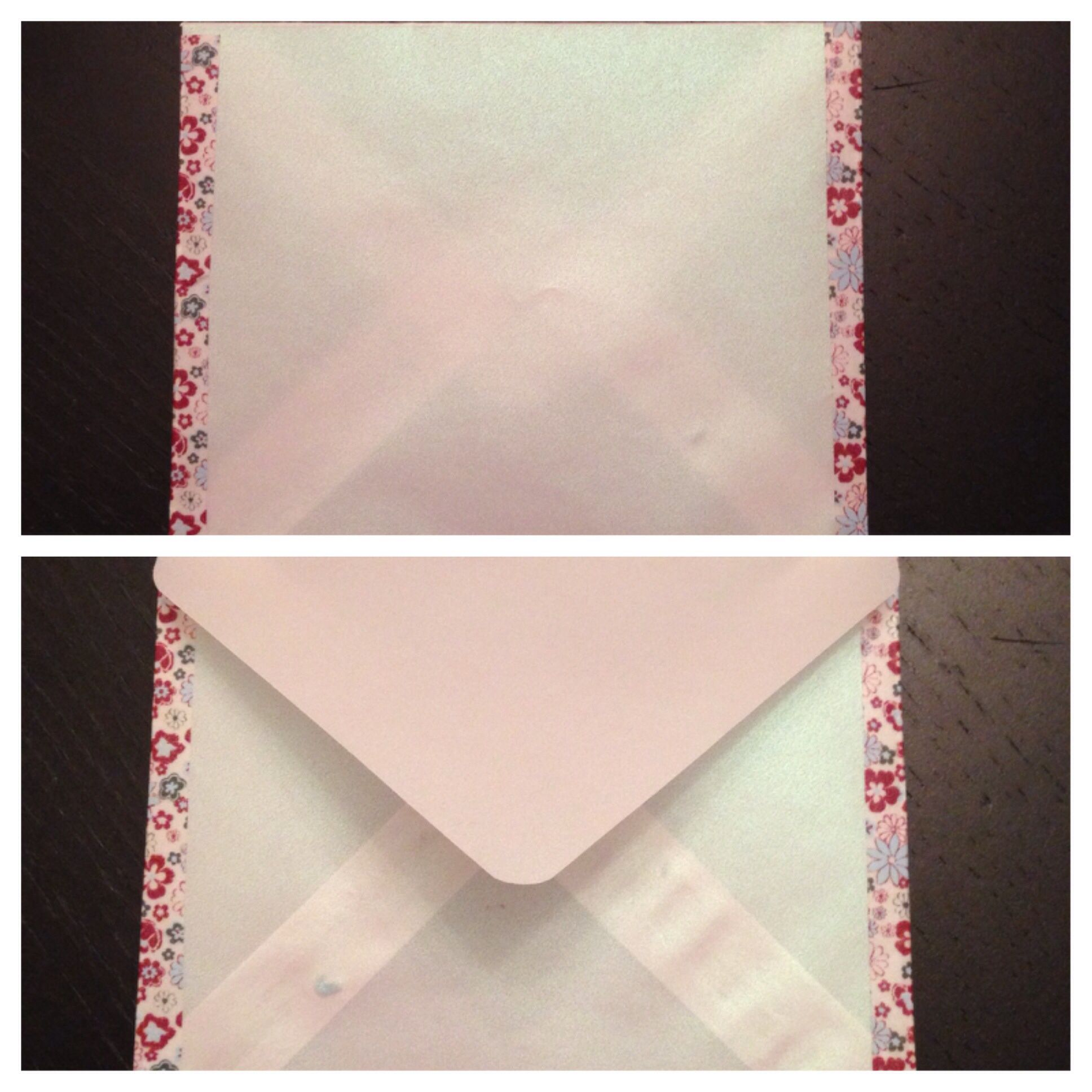 Handmade velum envelope decorated with Washi tape.