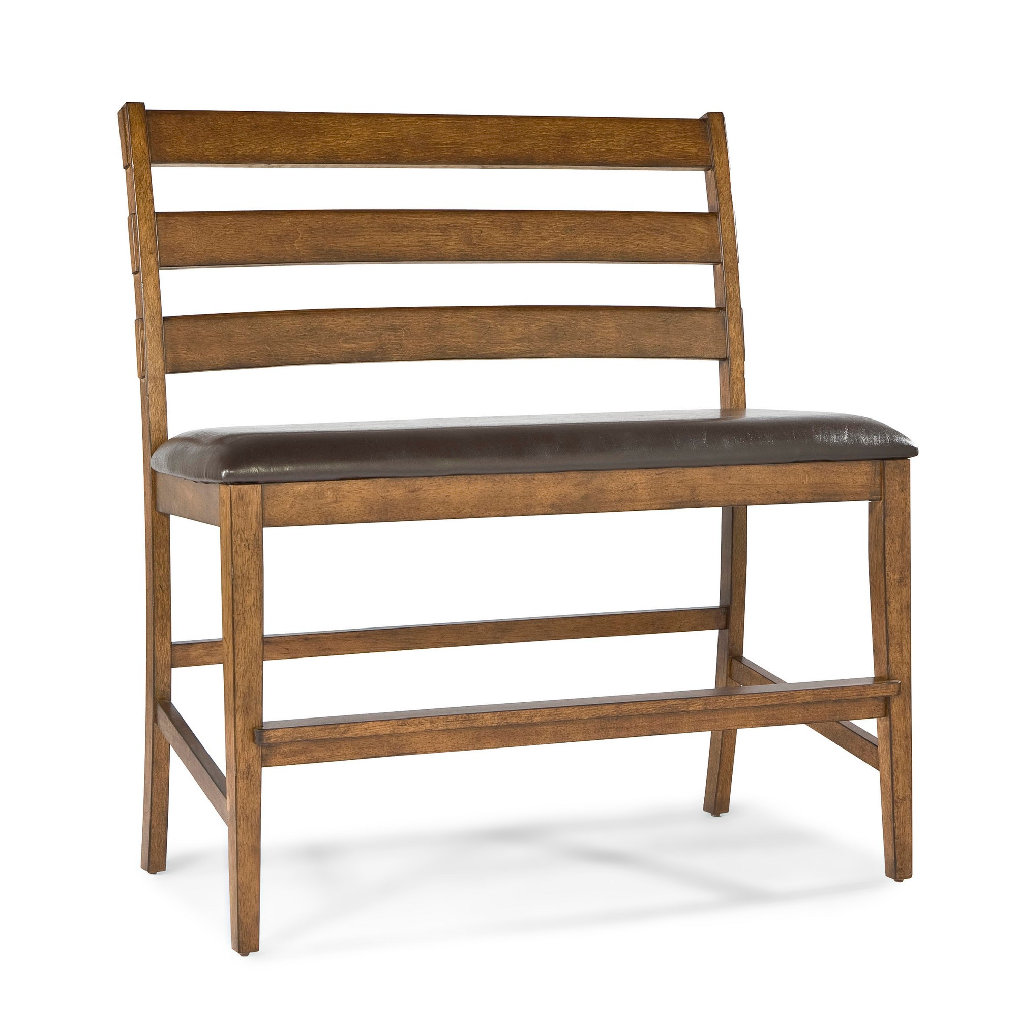 Santa Clara 24 Barstool Height Ladder Back Bench With Faux Leather Seat Brandy Finish