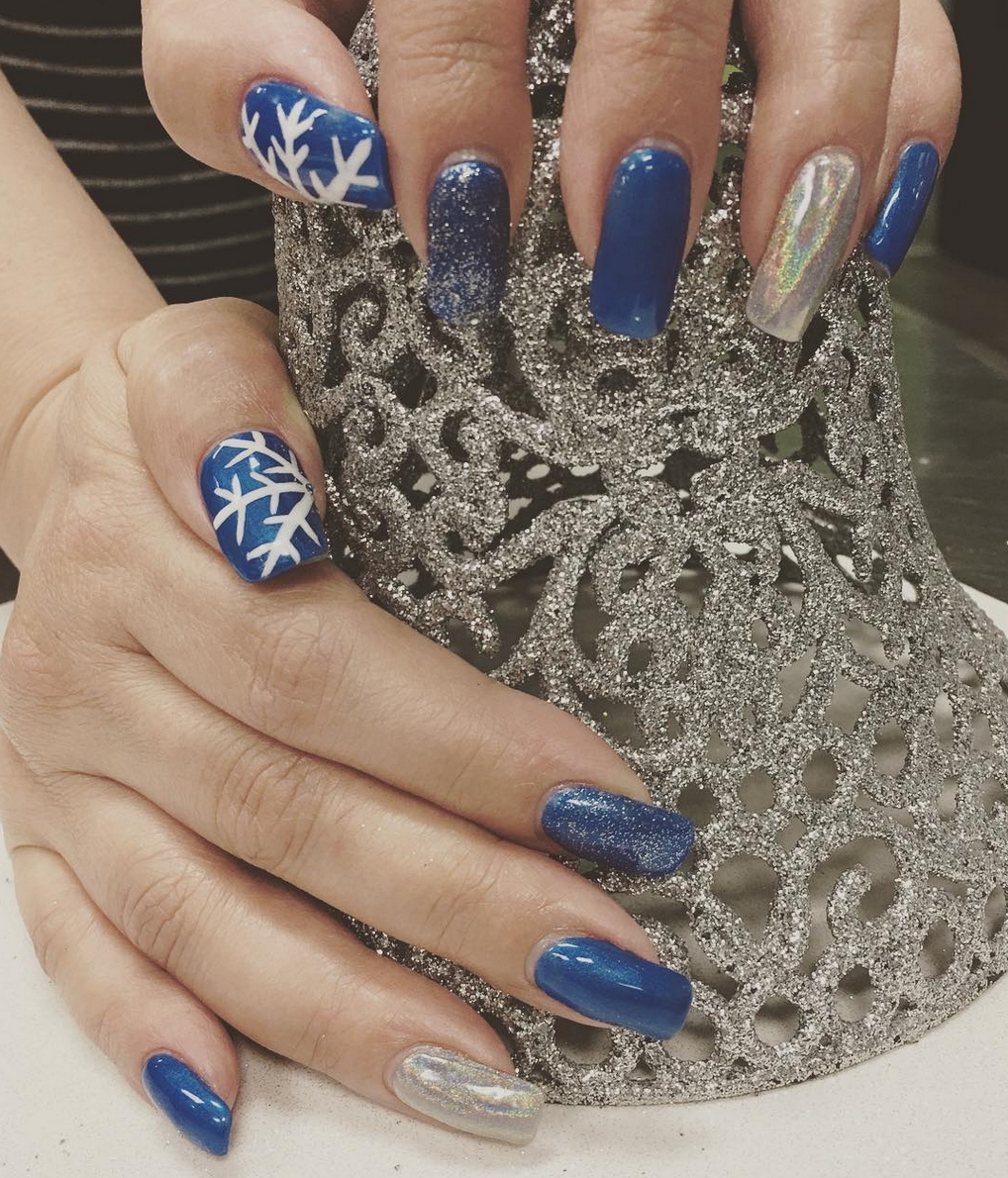 Winter nail art at Oliver Finley Academy of Cosmetology