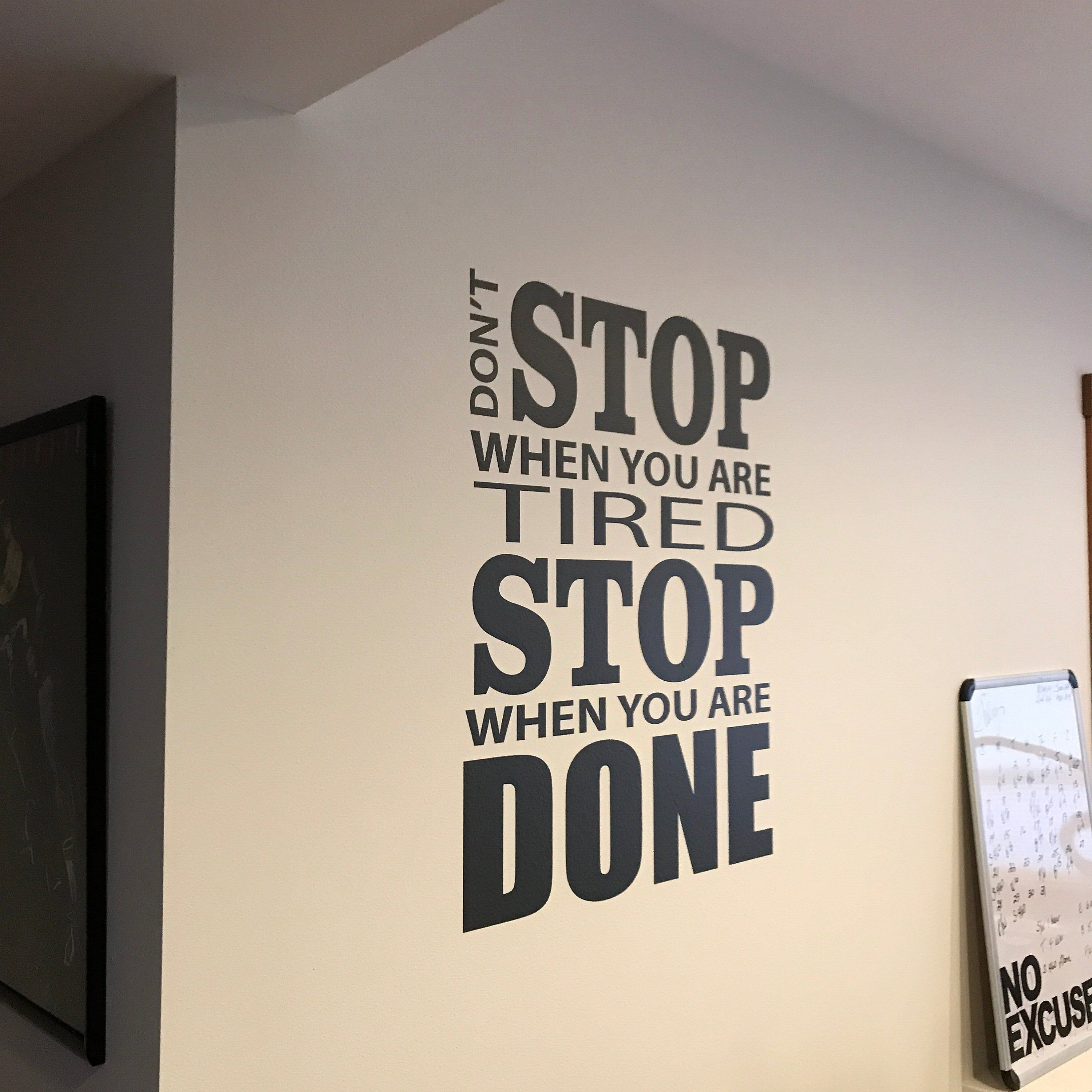 Home Gym Design, Vinyl Wall Decal Motivation. Don't Stop