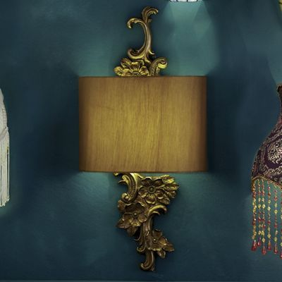 Gold Floral Wireless LED Wall Sconce $99.95 | Decorative ... on Decorative Wall Sconces Non Electric Lights For Closets id=64509