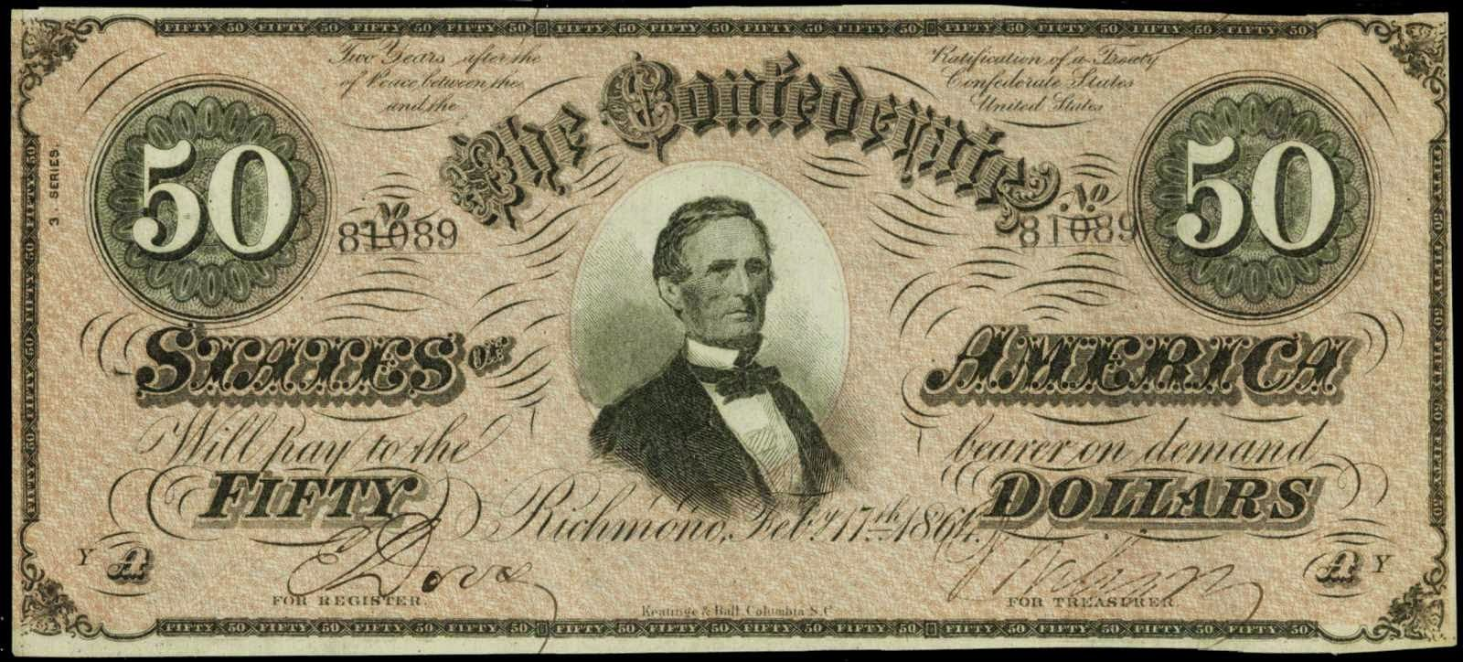 Confederate Paper Money 50 Dollar Bill 1864 T 66