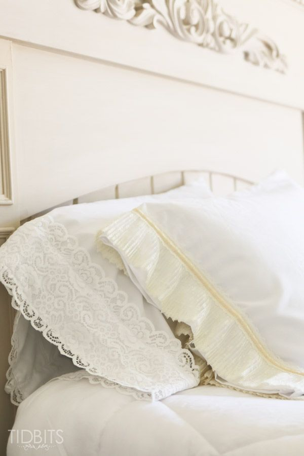DIY Lace PIllowcase | Add some vintage charm to a pre-made basic pillowcase featured & DIY Lace Pillowcase | Vintage Bedrooms and Sewing projects pillowsntoast.com