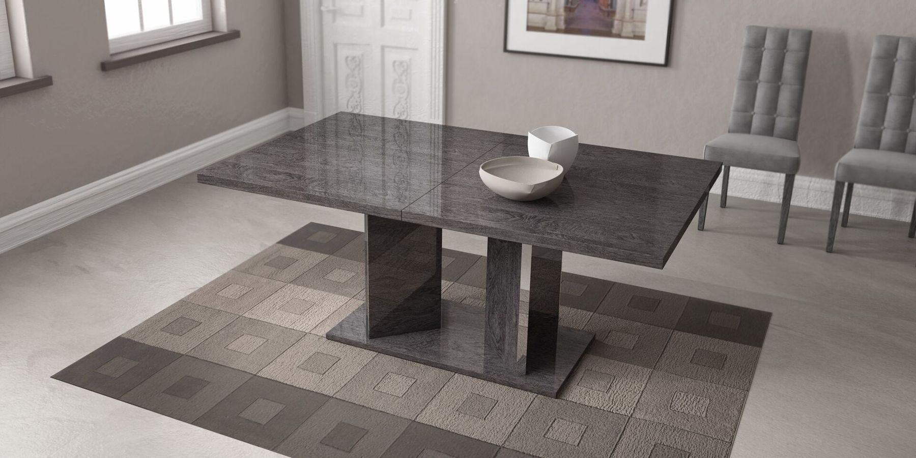 Sarah Table In 2020 Grey Dining Tables Extendable Dining Table