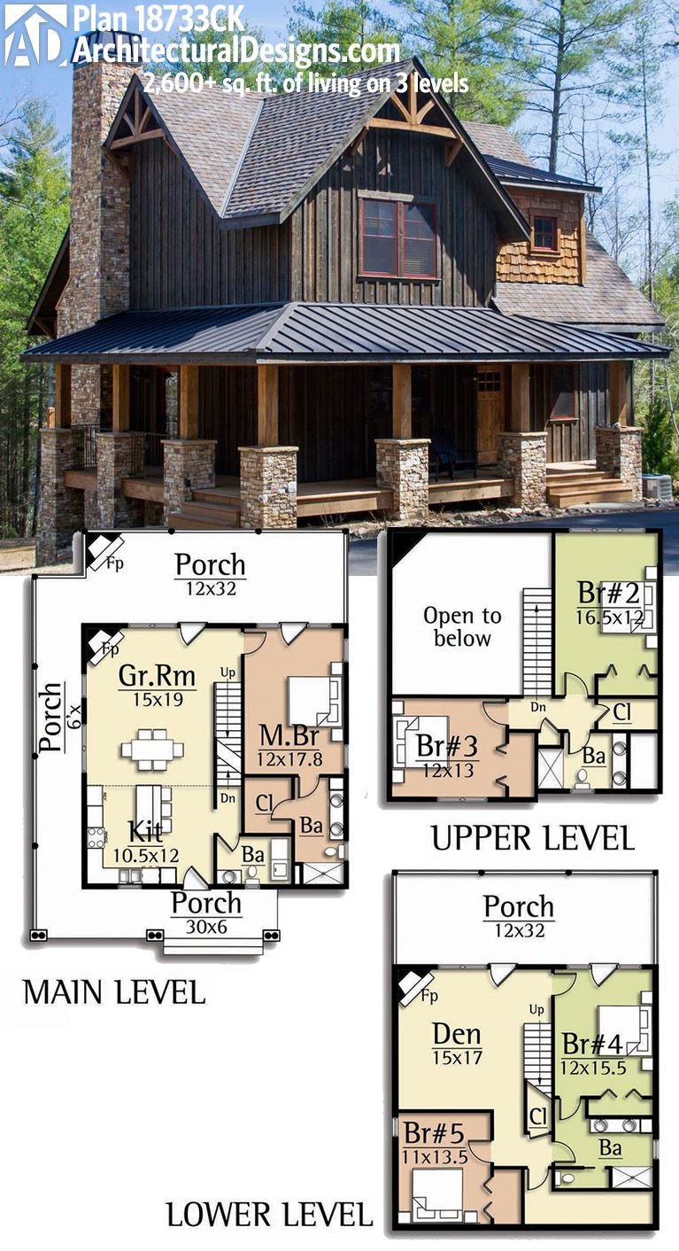 Architectural Designs Rugged House Plan 18733CK gives you over 2 600     Architectural Designs Rugged House Plan 18733CK gives you over 2 600 sq   ft  of living on 3 levels
