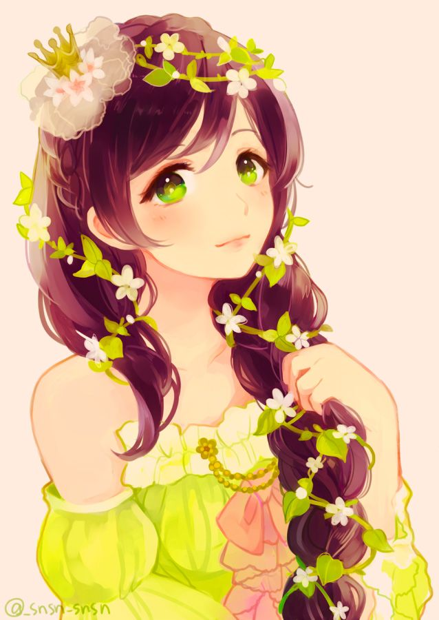 Nozomi by hanakazesunsun draw a girl with flowers in her hair anime girl with purple hair and flowers