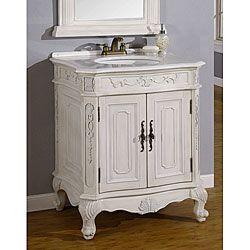 Bathroom Vanity Product | Bella Antique White Bathroom Vanity/ Cabinet |  Overstock.com