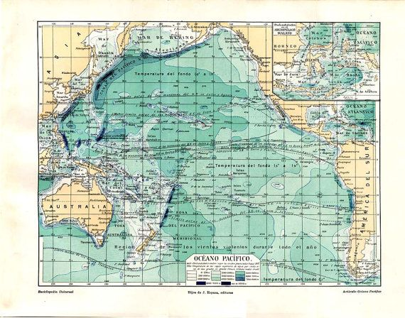 Pacific Ocean Vintage Map Sea Depths S By CarambasVintage - Ocean maps with depths