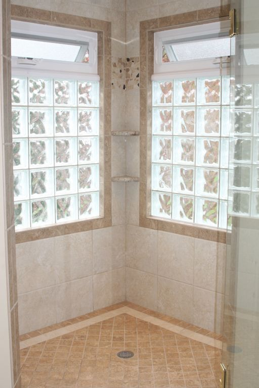 These Windows Allow Excellent Light Into The Shower While Still Maintaining Privacy Window In Shower Glass Block Windows Bathroom Windows