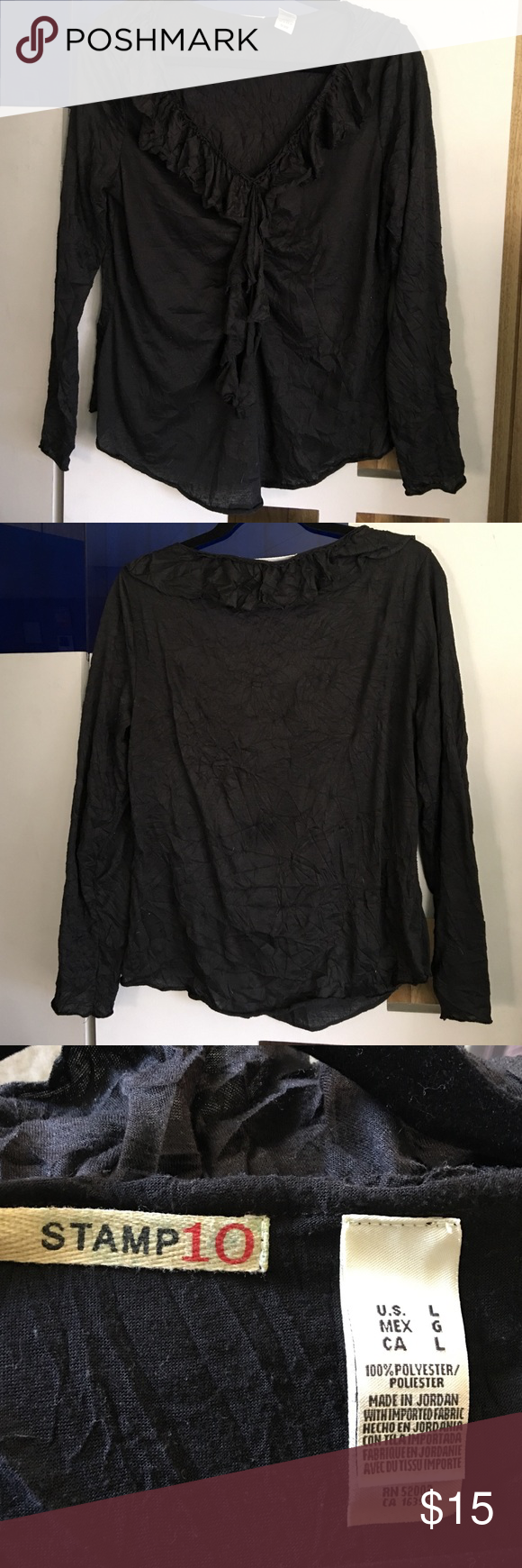 Black ruffly blouse Black ruffly blouse and does stretch. Crinkle look. 100% polyester size large. Made by stamp 10. Great to rock with boots! Stamp 10 Tops Blouses