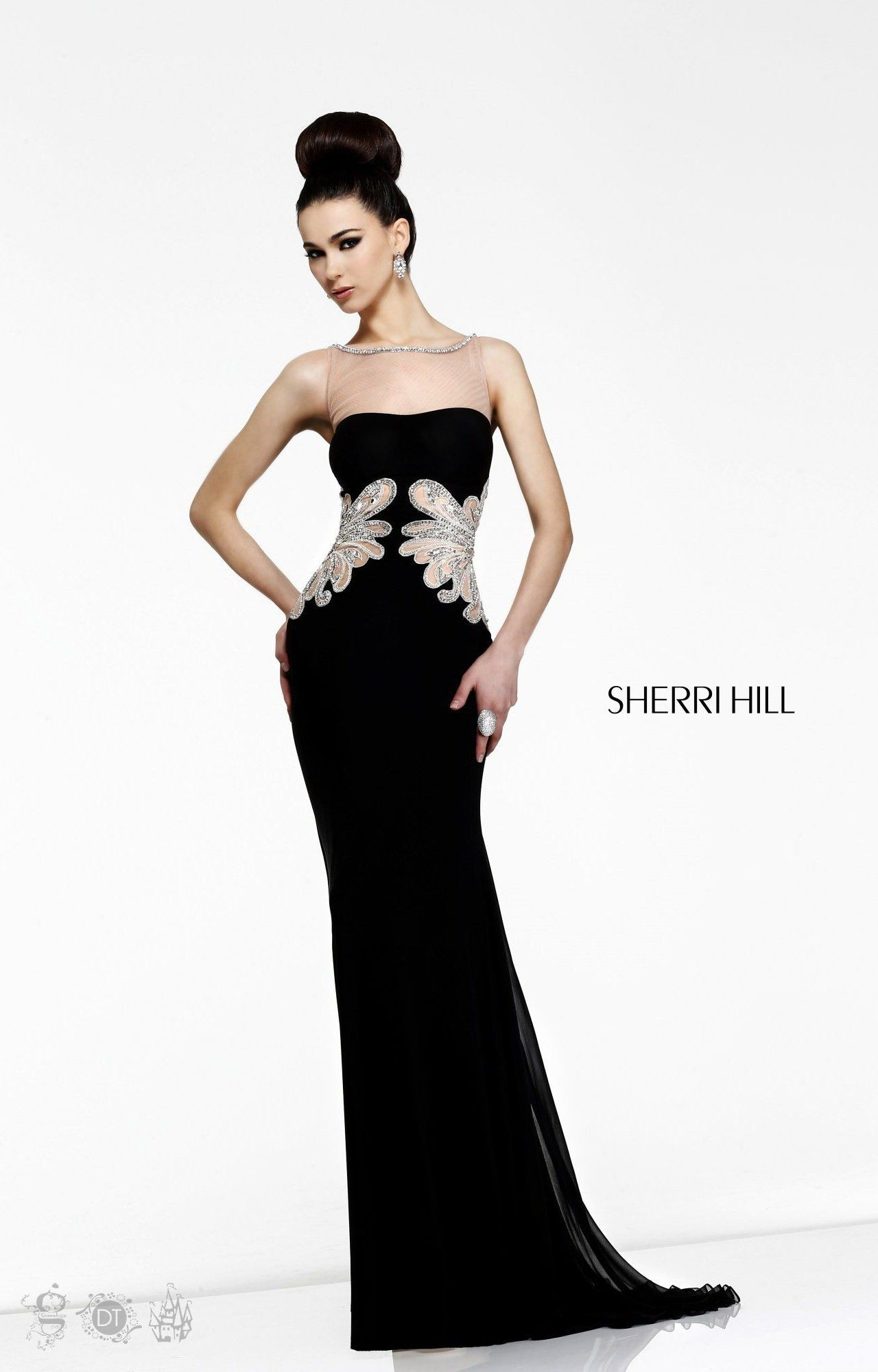Black sherri hill jersey knit open back sheer dress