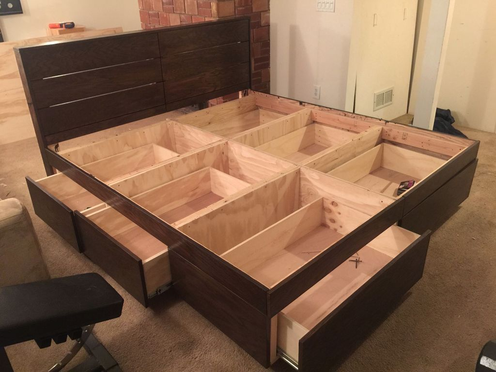 Storage bed plans - Diy Platform Bed With Drawers
