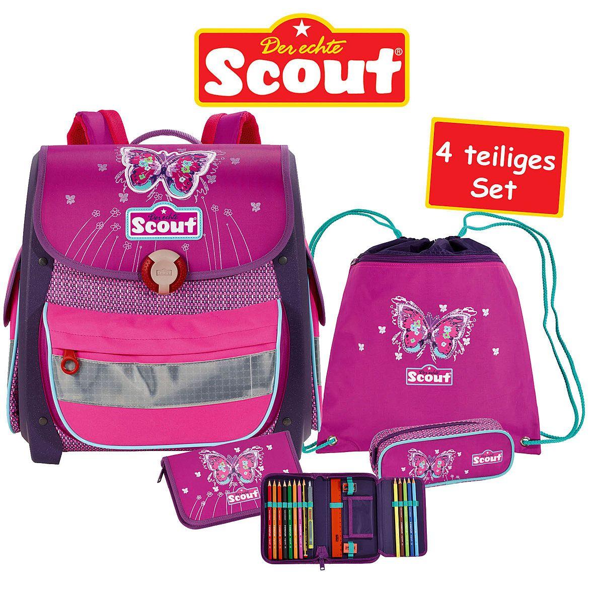 Scout Buddy Schulranzen Set Purple Butterfly Schulranzen Set Schulranzen Schultasche